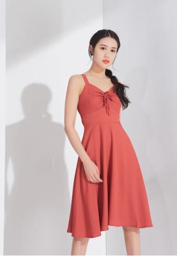 Zafiti red Straps Pleat Dress 647CAAA945E611GS_1