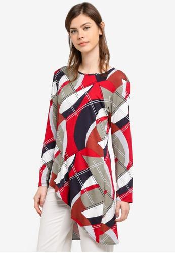Aqeela Muslimah Wear red Asymmetrical Top AQ371AA0S4VLMY_1