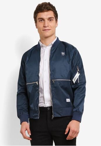 High Cultured 海軍藍色 Embroided Wording Jacket HI002AA0S1U8MY_1