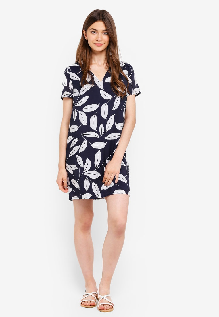 Strap Tropical Dress Back Navy Print Detailed Shift Borrowed Something dwwfqP
