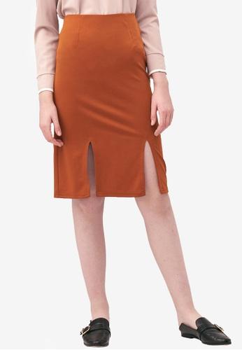 Kodz brown Slit Hem Midi Skirt DCC09AAAA2442DGS_1