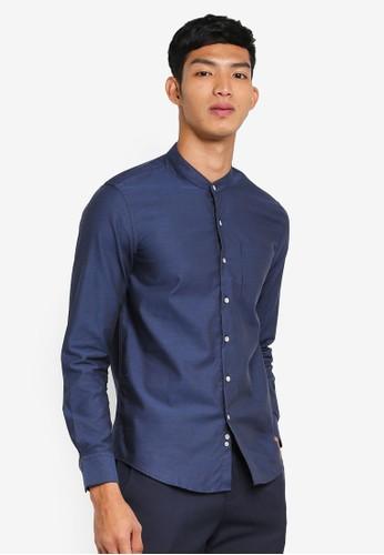 Electro Denim Lab grey Dobby Mandarin Shirt 1414DAA131ECA0GS_1