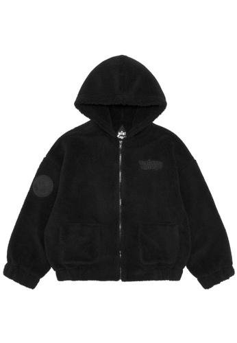 Mini cream black Always Wild fuzzy zip hoodie 3CF5FAA83EE87AGS_1
