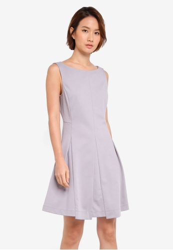 ZALORA grey Box Pleat Dress F56A7AA2EEEAF2GS_1