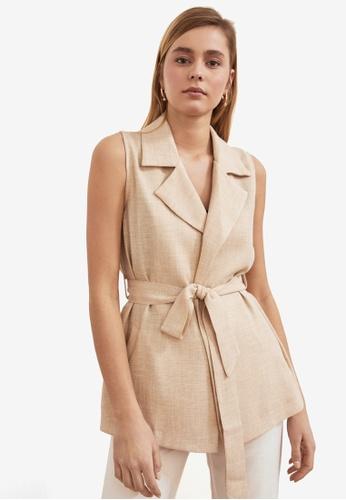 Trendyol beige Textured Print Belted Vest 16C92AAC276540GS_1