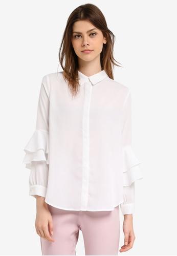 Zalia white Layered Sleeve Shirt 17ABBAAEB25D9CGS_1