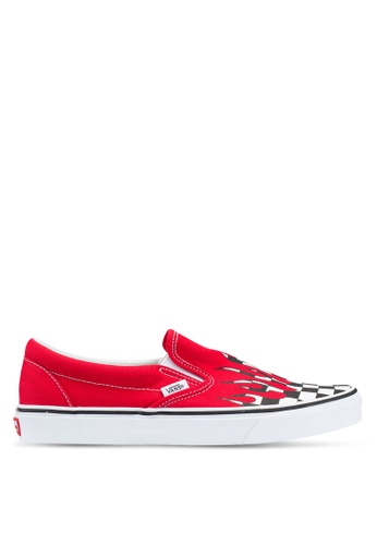 VANS white and red Slip-On Checker Flame 83E2DSHD77308CGS_1