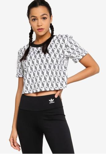 adidas crop t shirt weiss