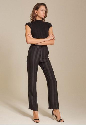Dressing Paula black Striped Satin Tapered Pants 11079AAD694BF7GS_1