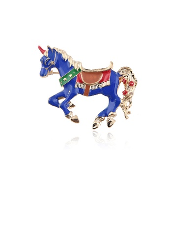 Glamorousky silver Fashion and Elegant Plated Gold Enamel Blue Horse Brooch 2E082ACEBB5072GS_1