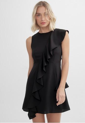 Pomelo black Draped Ruffle A Line Dress - Black 5A2AFAA14701F6GS_1