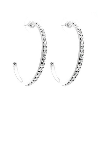 Glamorousky silver Circular Earrings with Silver Austrian Element Crystals E77E1AC0521211GS_1