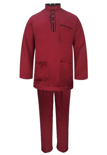 Pacolino red Baju Melayu Cekak Musang with pants For Kids - EBM17886 (Red) 3980FKA2403DD3GS_1