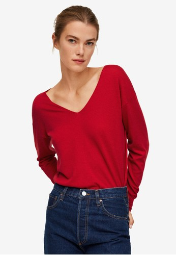 Mango red V-Neck Knit Sweater 28ACAAA5FCA405GS_1