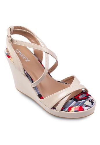 交叉帶繞踝印花楔形鞋, zalora 包包評價女鞋, 高跟