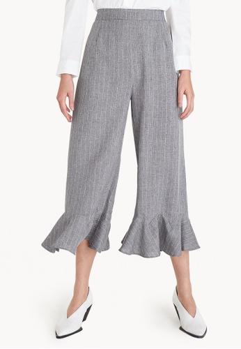 Pomelo grey Low Ruffled Loose Pants - Grey CC89DAA0133993GS_1