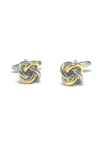 Splice Cufflinks silver and gold Silver and Gold Knot Cufflinks   SP744AC64DTFSG_1