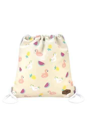 Ripples beige Summer Floats Drawstring Backpack 5A5AEAC18DD286GS_1