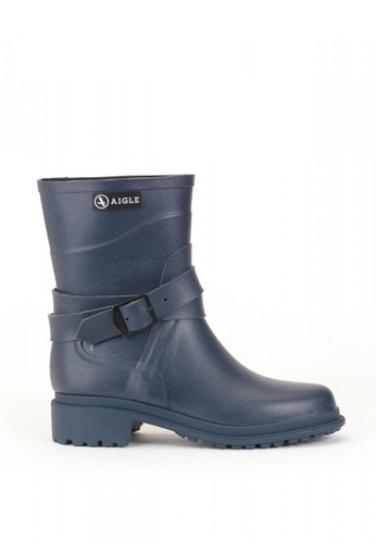 Aigle blue and navy Macadames Mid Rubber Boots 5EF3BSH7CC4A79GS_1