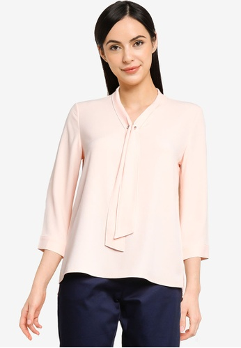 G2000 pink Neck Tie Blouse with Metal Pin 9FA45AAB01FB49GS_1