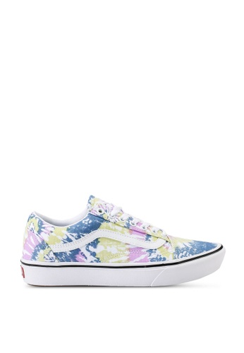 VANS white and purple ComfyCush Old Skool Tie-Dye Sneakers AA4A2SH1E0995FGS_1