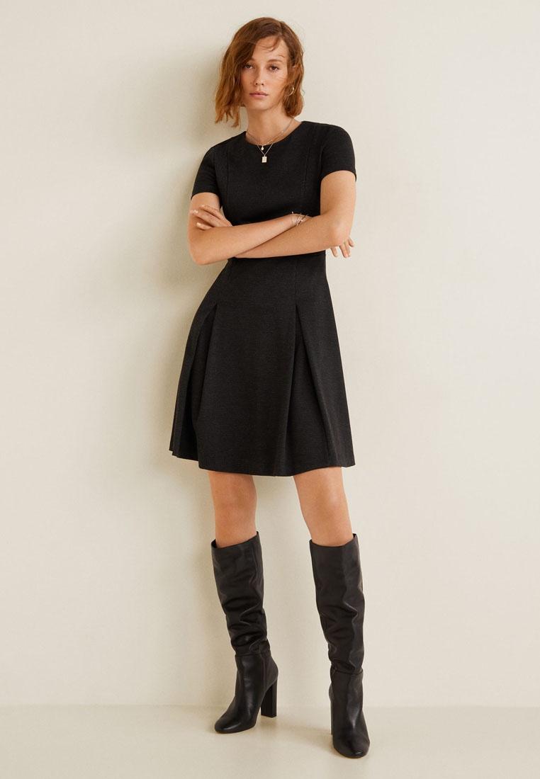 Dress Pleated Black Wide Black Dress Mango Mango Pleated Wide wqqnSxfYz