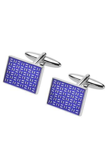 CUFF IT blue Blue Enamel Silver Lines Cufflinks D97C6AC35EAF21GS_1