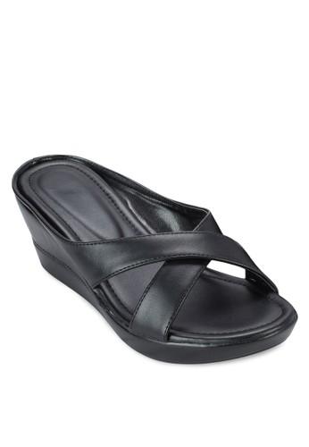 交叉帶楔型跟涼鞋,zalora 手錶 評價 女鞋, 楔形涼鞋