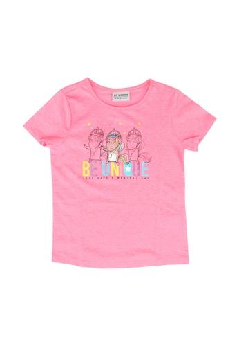 LC Waikiki pink Girl's Printed Cotton T-shirt 62CA0KAB7287E1GS_1