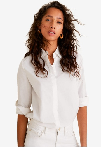 Mango white Essential Cotton-Blend Shirt AF187AA1C1D962GS_1