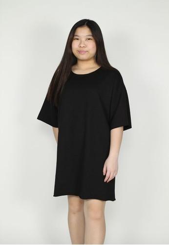 NOOB black Basic Oversized Tee - Hitam 6DAF7AAB01F85BGS_1