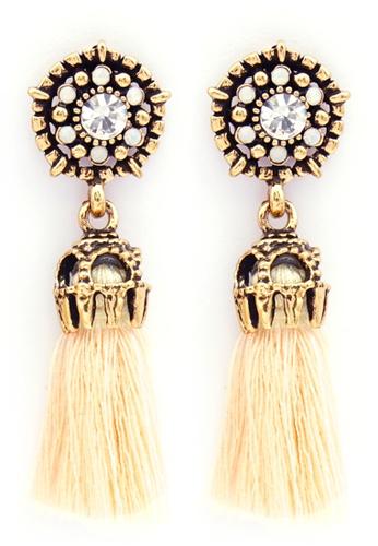 YOUNIQ gold YOUNIQ-Basic Korean Beige Bohemian Tassel Earring 51D6EACBFBF073GS_1