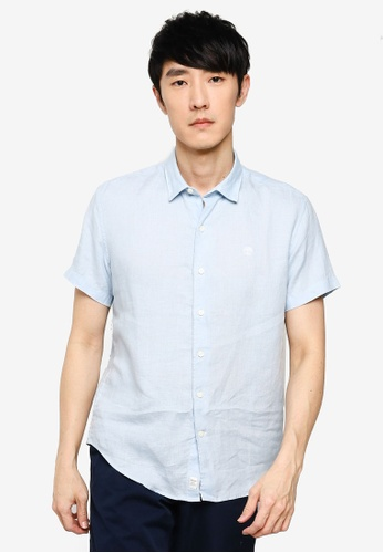 Timberland blue Mill River Linen Slim Shirt 3E96FAA9ED046CGS_1