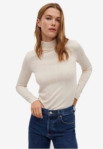 Mango white Ribbed Long Sleeve T-Shirt 93F4BAA4E3EC94GS_1