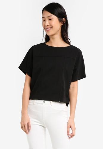 ELLYSAGE black Paneled Dolman Shirt 787F0USB55B8AAGS_1