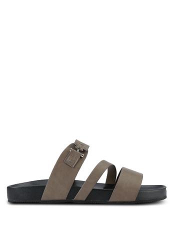 ZALORA brown Faux Leather Sandals A4486SHF3E7124GS_1