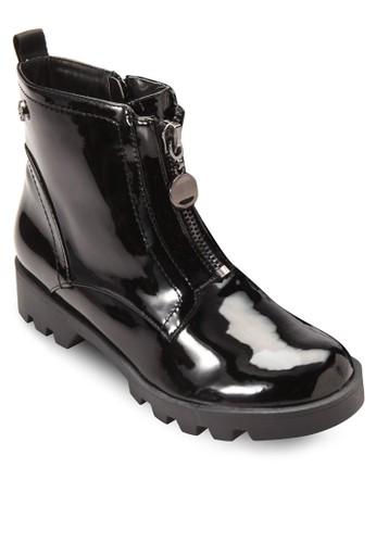 前拉鍊低跟zalora鞋短靴, 女鞋, 鞋