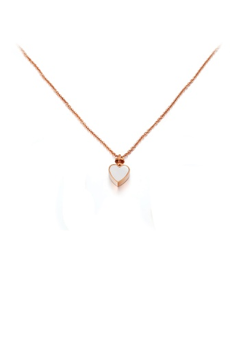 Glamorousky silver Fashion Simple Plated Rose Gold Heart Shaped 316L Stainless Steel Pendant with Necklace 84229AC944AF5FGS_1