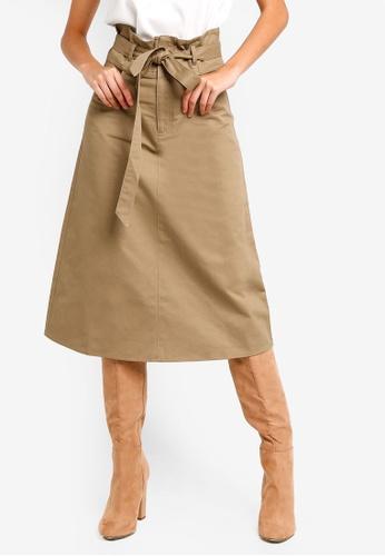 ZALORA brown Self Tie A-Line Skirt 3D0DEAA4EE73D6GS_1