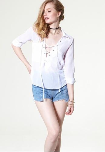 Storets blue Jenna Raw Edge Denim Shorts ST450AA0GO1YSG_1