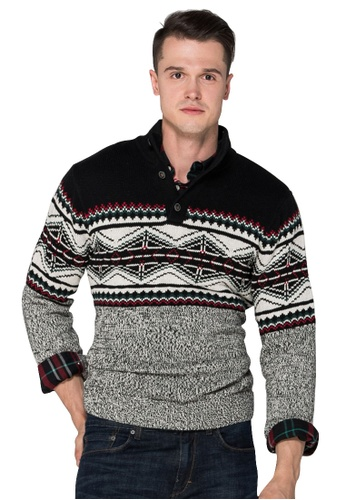 Chaps black and grey Chaps Nordic Cotton Sweater  CH325AA0SJ88MY_1