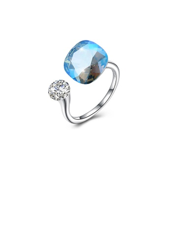 Glamorousky white 925 Sterling Silver Fashion Simple Blue Austrian Element Crystal Square Adjustable Ring 0C559AC732D205GS_1