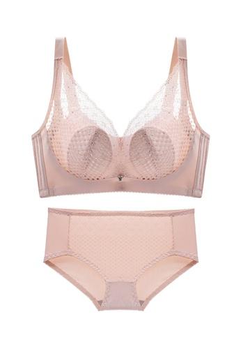 ZITIQUE beige Women's Summer Sexy Push Up Lingerie Set (Bra And Underwear) - Beige 0A175USF8EBDD4GS_1