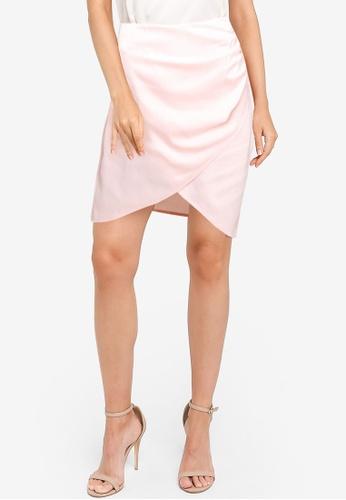 ZALORA OCCASION pink Satin Wrap Ruching Detail Skirt 99298AAAAB7316GS_1