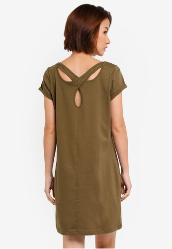 ZALORA green T-Shirt Dress With Back Cut-Outs 6DEFDAAF00DFF6GS_1