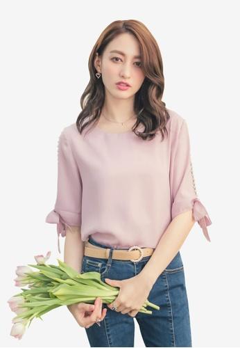 Yoco pink Side Pearls Tie Sleeve Blouse 270AAAA8D01340GS_1