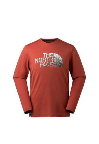 1495e996e The North Face Men L/S Logo Tee Red Long Sleeve T-Shirt