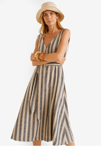 2bf1e2098 Shop Mango Striped Linen Dress Online on ZALORA Philippines
