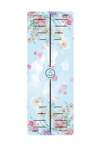 SUMATI pink and blue Bloom Travel Yoga Mat 530ADSEC43B422GS_1