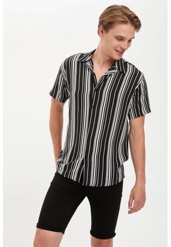 DeFacto black Man Woven Top Short Sleeve Shirt F631BAA3521A72GS_1